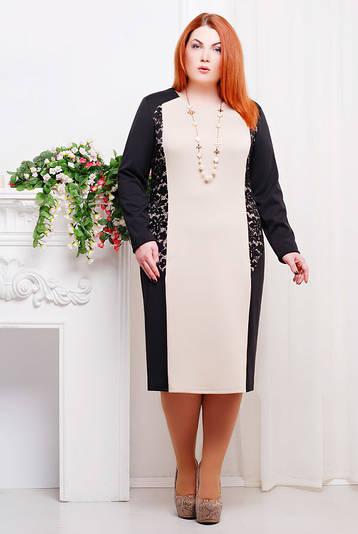 Прямое платье больших размеров Тера беж
