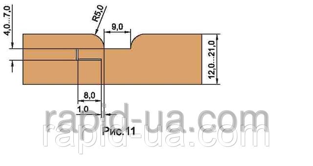 Фрезы для обшивочной доски ( вагонки R=4 ) «ТАЙГА» В=12…16,5         160х40х22х4