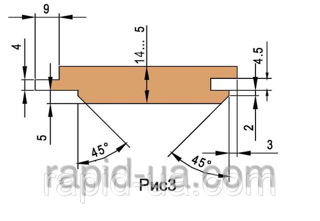 Комплект фрез  для изготовления обшивочной доски (вагонки)         160х40х25х3