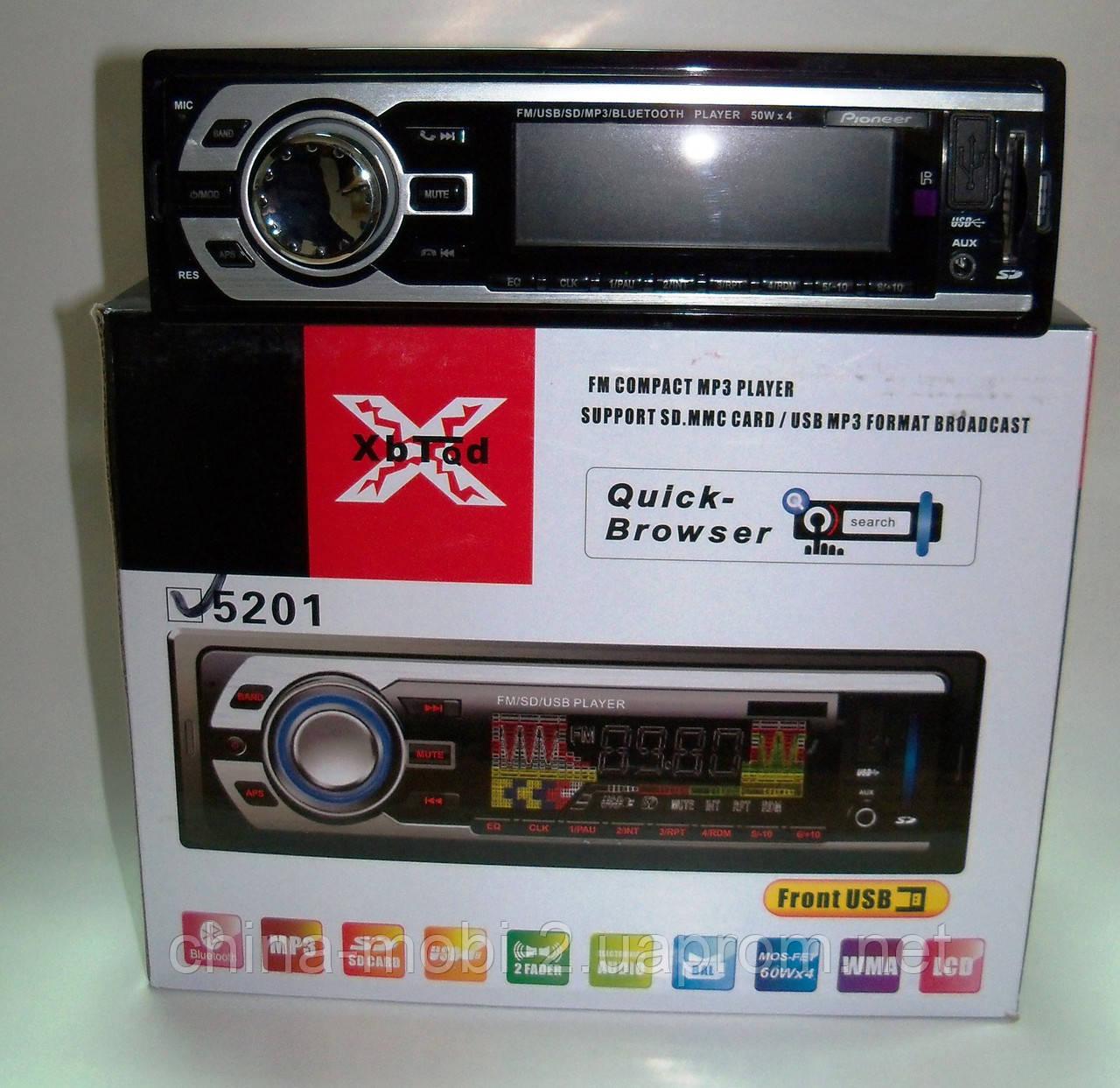 Автомагнитола Pioneer 5201 без cd с Bluetooth,  mp3 sd usb
