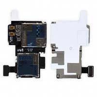 Шлейф с держателем (разъемом) SIM карты и карты памяти для Samsung i537, i9295 Galaxy S4 Active Original