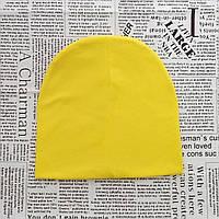 Демисезонная трикотажная шапка детская 4-12 лет Желтый