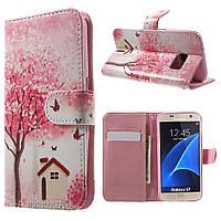 Чехол книжка TPU Wallet Printing для Samsung S7 G930 Flower Butterfly House