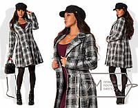 Модное женское пальто (рогожка, однобортное, легкий клеш, стильный клетчатый узор) РАЗНЫЕ ЦВЕТА!
