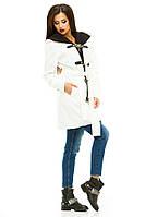 """Стильное молочное пальто """" Бонус """"с капюшоном и поясом. Арт- 8781/74"""