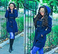 """Стильное синее пальто """" Бонус """"с капюшоном и поясом. Арт- 8781/74"""