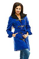 """Стильное  пальто """" Бонус """"с капюшоном и поясом, цвет электрик. Арт- 8781/74"""