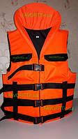 Жилет спасательный с подголовником «Адмирал» люкс оранжевый, фото 1