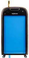 Тачскрин сенсорное стекло для Nokia C7 with frame grey/brown