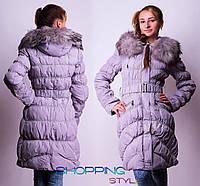 Зимняя куртка – пуховик с мехом енота