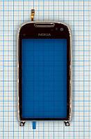 Тачскрин сенсорное стекло для Nokia C7 with frame silver