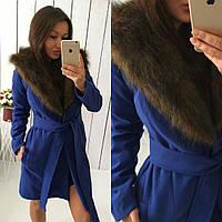 """Кашемировое пальто"""" Вамп """"со съемным искусственным мехом, на синтепоновой подкл, цвет электрик. Арт- 8783/74"""