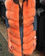 Жилетка из финского песца, цвет оранжевый (натуральный окрас) мех премиум класса