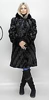 Шуба женская искусственная черная норка  М-111 42-52 размеры