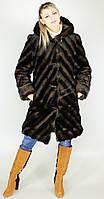 Шуба женская искусственная коричневая норка  М-111 42-52 размеры