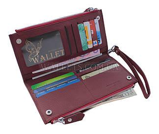 Женский кожаный кошелек ST, книжечка, бордовый.