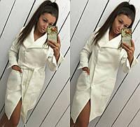"""Модное молочное кашемировое пальто """" Глянец """" с пуговичками. Арт- 8786/74"""