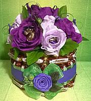 """Торт букет цветы из конфет """"Поздравляем!"""""""