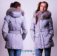Зимняя куртка – пуховик с мехом енота на капюшоне