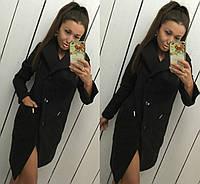 """Модное черное кашемировое пальто """" Глянец """" с пуговичками. Арт- 8786/74"""