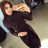 """Модное шоколадное кашемировое пальто """" Глянец """" с пуговичками. Арт- 8786/74"""