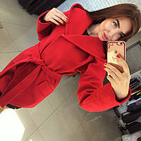 """Красное кашемировое пальто """" Монреаль """" с карманами и поясом. Арт- 8787/74"""