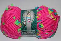 Пряжа полушерсть для ручного вязания на спицах ализе флауэр