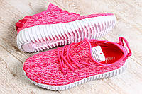 Женские кроссовки бирюзовые со шнурками  и розовые Adidas Yeezy Boots