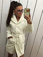 """Молочное кашемировое пальто """" Монреаль """" с карманами и поясом. Арт- 8787/74"""