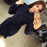 """Темно-синее кашемировое пальто """" Монреаль """" с карманами и поясом. Арт- 8787/74"""