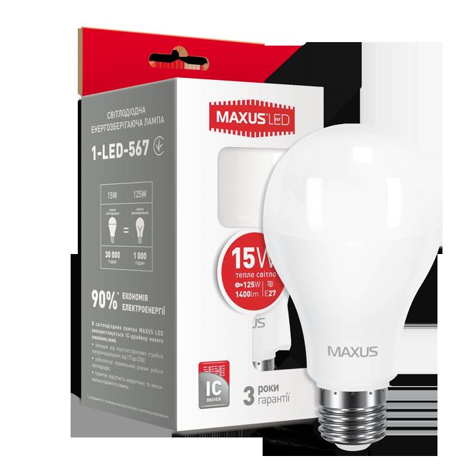 Светодиодная Лампа A70 15W E27 MAXUS 1400lm,3000k