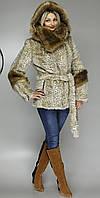 Женская искусственная шубка бежевый леопард М-125 42-52 размеры