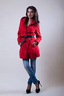 Красное пальто с поясом из эко-кожи. Арт- 8790/74