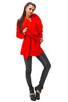 Молодежное красное кашемировое  пальто с поясом. Арт- 8792/74