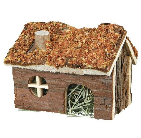 Домик для хомяка Trixie деревянный с сеном и морковью 15*11*12 см