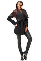 Молодежное черное кашемировое  пальто с поясом. Арт- 8792/74