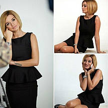 Платье с баской Мини Черное, фото 3
