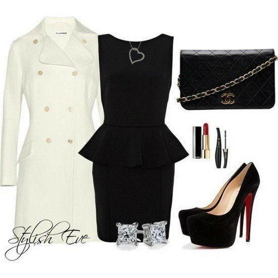 Платье с баской Мини Черное