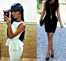 Платье с баской Мини Черное, фото 2