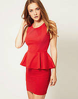 Платье с баской Мини Красное