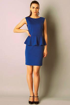 Платье с баской Мини Синее, фото 2