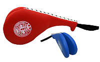 Ракетка для таеквондо Двойная PVC WTF BO-4511 Хлопушка (наполнитель-пенополиуретан,синяя, красная)
