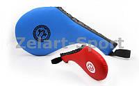 Ракетка для таеквондо Одинарная PU WTF BO-4747 Хлопушка (наполнитель-пенополиуретан,синяя, красная)