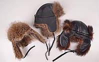 Ушанка мужская кожаная с натуральным мехом