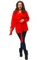 Стильное красное кашемировое пальто батал, с поясом. Арт-8793/74