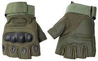 Перчатки тактические OAKLEY BC-4624-G (PL,открытые пальцы, протектор-усилен,р-р M-XL, темно-зеленый)