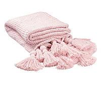 Плед вязаный ручной работы с кисточками сумрачно-розовый