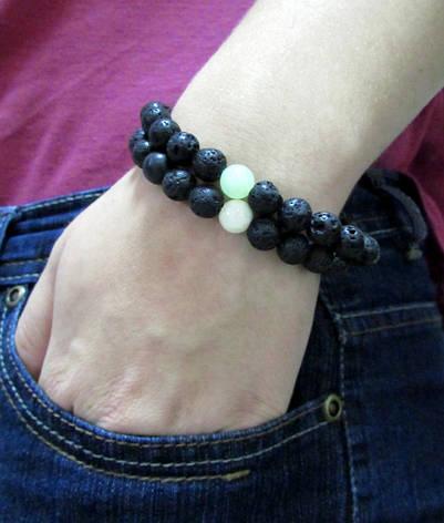Браслеты из натуральных камней. Лава + 1 Оникс. Набор 2 браслета. Натуральные камни 8мм, фото 2