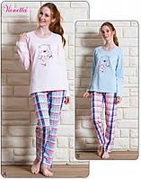 Пижама женская брюки кофта длинный рукав на байке Vienetta Secret 111904
