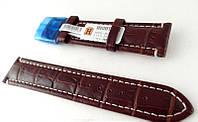Ремешок Hightone, кожаный, анти-аллергенный, коричневый с белой строчкой, фото 1